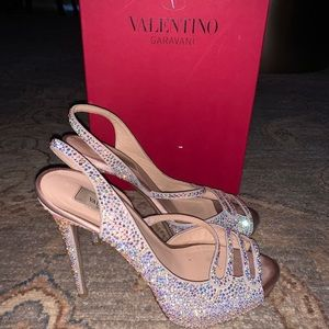 Valentino silver sparkle sling back heels